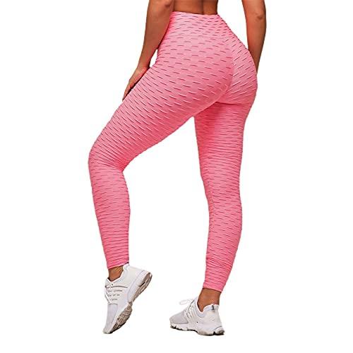Uniqueheart Leggings anticelulíticos de Levantamiento de glúteos para Mujeres Pantalones de Yoga de Cintura Alta Entrenamiento Control de Abdomen Medias Deportivas Fitness - Rosa L