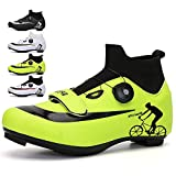 KUXUAN MTB Fahrradschuhe Herren Damen - Rennrad Rotierende Schuhschnalle Atmungsaktiv Cleat Kompatibel SPD Indoor Cycling Schuhe,Green-11UK=(275mm)=45EU