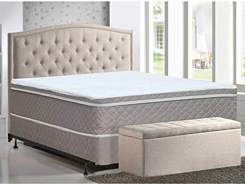 Mattress Solution Medium Plush Eurotop Pillowtop Innerspring Mattress And 8' Metal Boxspring/Foundation Set, With Frame, Queen Size, White and gold