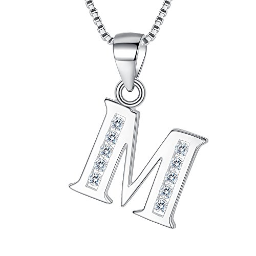Clearine Women 925 Sterling Silver Cubic Zirconia 26 Letters Alphabet Personalized Charm Pendant Necklace'M'