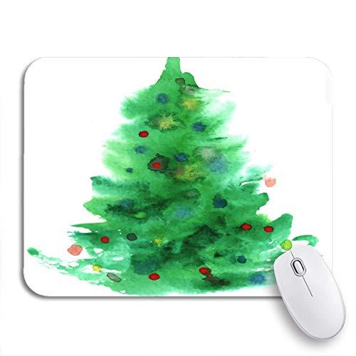 Gaming Mouse Pad Grünes Wasser Aquarell Weihnachtsbaum Farbe Weihnachten Aquarell Tanne Rutschfeste Gummi Backing Computer Mousepad für Notebooks Maus Matten