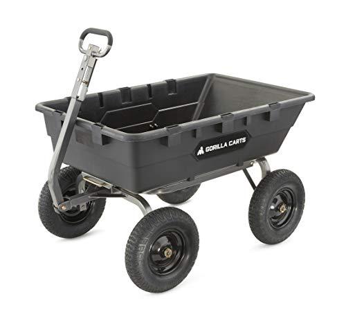 lawn carts Gorilla Carts GOR10-16 Super Heavy Duty Poly Dump Cart, 1,500-pound Capacity, Black