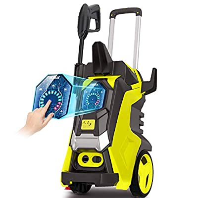 TEANDE 3800PSI Pressure Washer, TED5255 Smart Electric Pressure Washer 2.8 GPM Three Modes of Touch Screen Adjustable Pressure with Telescopic Handle