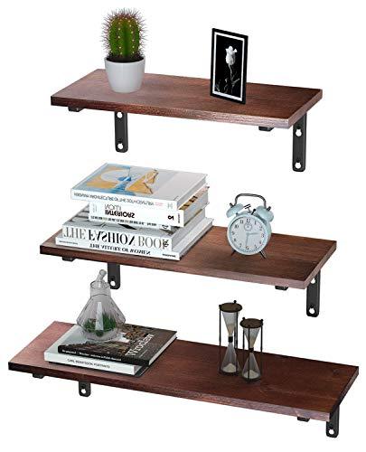 EKNITEY Floating Shelves Wall Mounted, Rustic Wood Wall Shelves Book Shelf Multipurpose Wall Storage...