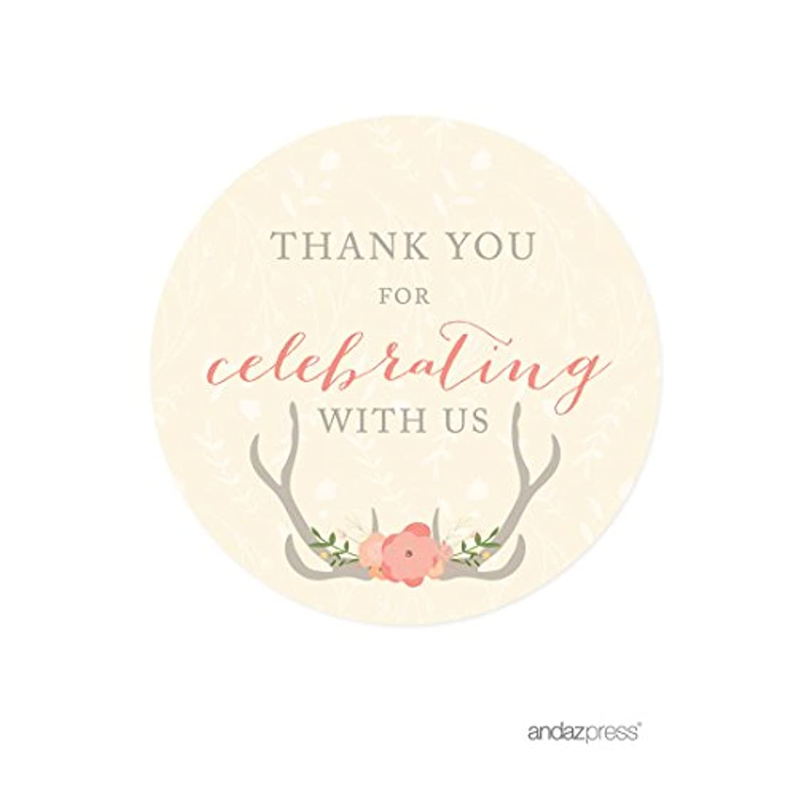 Andaz Press Woodland Deer Wedding Collection, Round Circle Label Stickers, Thank You for Celebrating With Us, 40-Pack anawvbuh38376