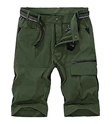 TBMPOY Men's Quick Dry Hiking Shorts Lightweight Cargo Shorts Zipper Pockets Outdoor Sports Casual(02armygreen,US 34)