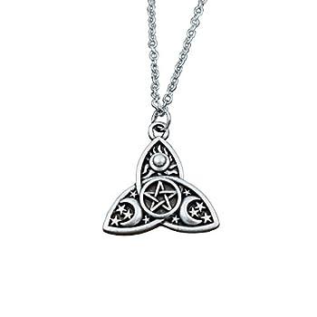 SanLan Triple Moon Goddess Triquetra Pentacle Necklace Pagan Wicca Pendant Necklace