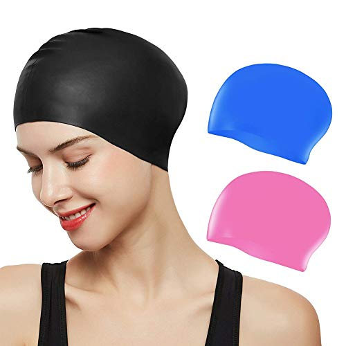 NALCY 3 Pack Erwachsene Badekappe, Unisex Wasserdicht Schwimmkappe für Herren Damen, Lange Haare Silikon Swimming Cap Bademütze für Männer Frauen