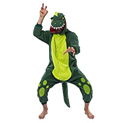 5. Spooktacular Creations Green Plush Adult Dinosaur Onesie