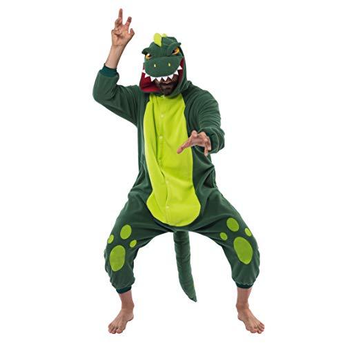 Pigiama a tutina in pile, unisex, per adulti, costume da dinosauro