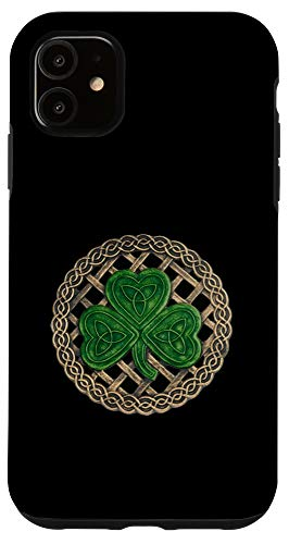 iPhone 11 Green Shamrock, Celtic Knot With Black Background Case