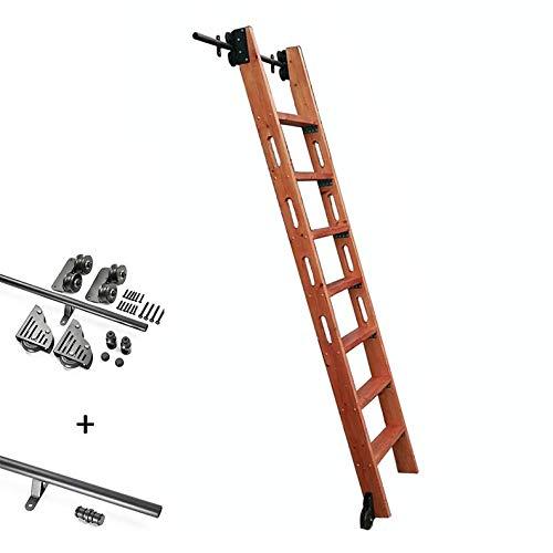 Herraje para Puerta Corredera Kit Riel colgante de escalera deslizante, juego completo de hardware + riel de extensión (sin escalera), riel de escalera móvil de tubo redondo para biblioteca / loft / h