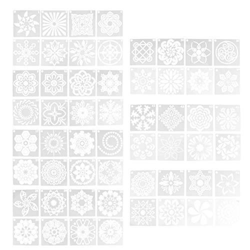 Artibetter Mandala Stencils Kunst Schilderij Mandala Sjabloon Set Voor Diy Steen Houten Meubelen Kaarten Kunst Schilderij Projecten 56 Stuks (Wit)