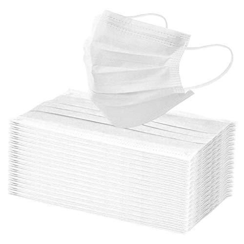 Lulupi 100 Stück Mundschutz Multifunktionstuch Weiß Atmungsaktiv Einweg Mund und Nasenschutz 3-lagig Staubdicht Elastisch Loops Halstuch Outdoor Gesicht Schild