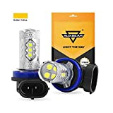 Auxbeam H11 H8 H9 Led Fog Light Bulbs Max 50W 3000K Golden Yellow Extremely Bright Led Light Bulb 3030 16-SMD Replacement for Signal, Turn, Parking, Tail, DRL, Pack of 2