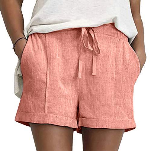 Onsoyours Pantaloncini Estate Elastico in Vita da Donna Bermuda Spiaggia Shorts Pantaloni Corti Vita Alta Puro Colore Casual Hotpants Shorts Z1 Rosa X-Small