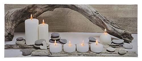 zeitzone LED Bild Abendstimmung mit Kerzen Flackernd Beleuchtet Leuchtbild 100 x 40 cm