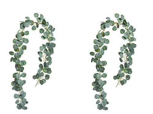 MARTHA&IVAN 2 Strands 6.5ft Artificial Eucalyptus Garland Faux Eucalyptus Artificial Greenery Garland for Wedding Arch Table Centerpiece
