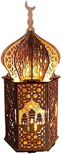 Eid Mubarak Ramadan Dekoration, LED hängen Schmiedeeisen Nachtlicht, Hängende Laternen Ramadan Dekoration, Ramadan Dekoration Lichter, Ramadan Gebetszubehör (B)