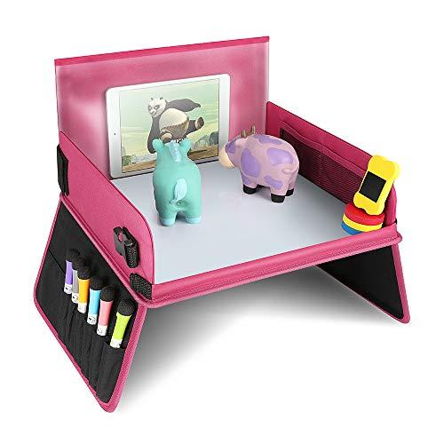 Kids Knietablet reistafelblad voor kinderen Play met uitwisbaar tekenbord & 6 gekleurde potjes voor spel en eettafel speeltafel autostoel tafel voor buggys, kinderwagen, auto, auto, vliegtuig, trein