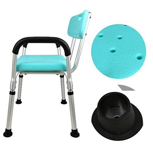 Silla de ducha ajustable, taburete de ducha antideslizante con reposabrazos y respaldo, asiento de baño, banco de baño para personas mayores embarazad
