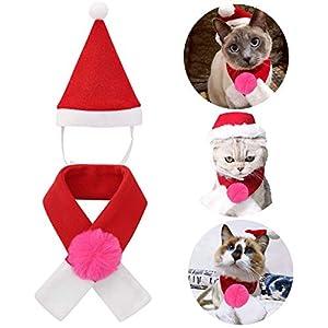 QKURT Costumes de Noël pour Animaux de Compagnie, écharpe pour Bonnet de Noel pour Chats, Chaton et Chiens, Cosplay de Chiots, vêtements de fête pour Animaux de Compagnie