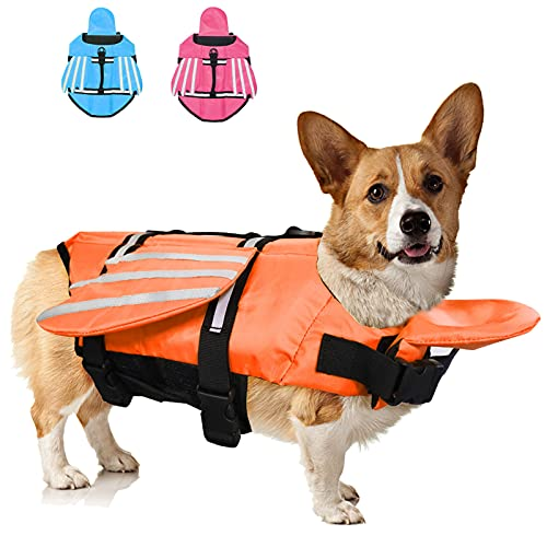 Fragralley French Bulldog Dog Life Jacket, Pet Life Vest for Small, Medium, Unique Wings Design Doggy Swimsuit with Handle for Swim, Pool, Beach, Boating