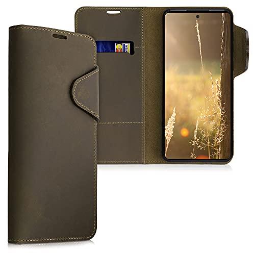 kalibri Wallet Hülle kompatibel mit Samsung Galaxy A52 - Hülle Leder - Handy Cover Handyhülle in Braun