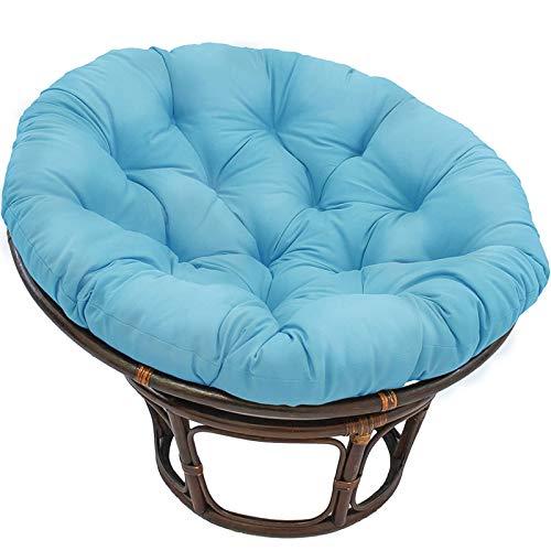Papasan - Cojín de mimbre para silla de columpio, suave, cómodo, grueso, impermeable, cojín para silla con columpio de huevo, para terraza, sala de estar, jardín, azul cielo, 120 cm