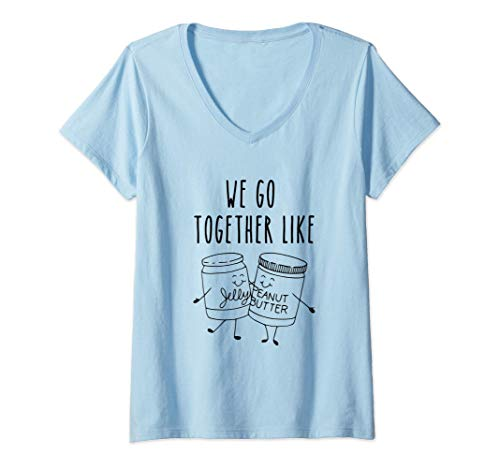 Womens We Go Together Like PB And J BFF For 2 Matching Best Friend V-Neck T-Shirt