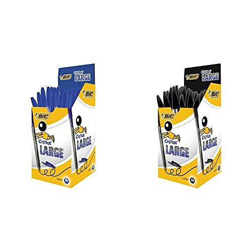 Bic Cristal Large Punta Larga 1,6 mm Confezione 50 Penne Colore Blu & Cristal Large Punta Larga 1,6 mm Confezione 50 Penne Colore Nero