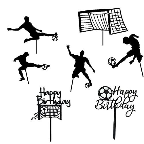 Dilightnews 7 Pezzi Topper per Decorazione Torte e Palloni da Calcio, Cake Topper Calcio, Decorazione Torta Football, Toppers Cupcake Calcio, per Feste di Calcio Decorazioni per Feste Sportive