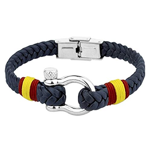 Stainless Steel Bracelet Rhodium Collection Soul Albero 21cm. Spain Flag Twisted Synthetic Leather Stirrup