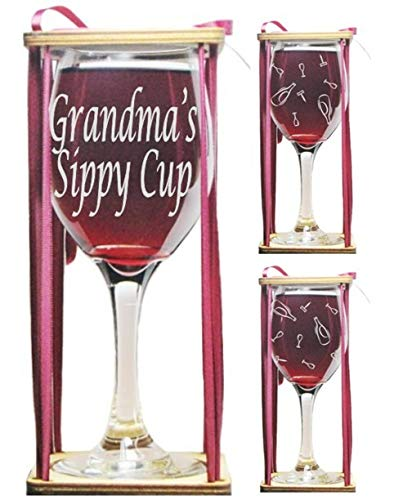 Grandma's Sippy Cup Engraved Wine Glass with Charm