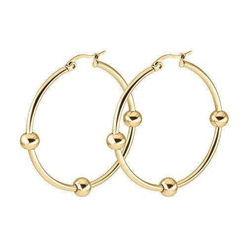 Aooaz 1 Paare / 2 Stück Creole Ohrringe 20mm Edelstahl Allergiefrei Gold Ohrringe mit Kugel Ohrringe Damen Frauen