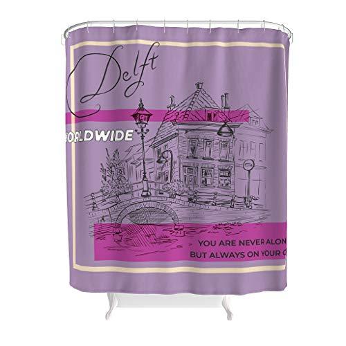 LAOAYI Duschvorhang Text Grafische Kombination Natürlich Muster Anti-Bakteriell Top Qualität Natürlich Vorhang Bad Vorhang für Badezimmer Gift for Family White 120x200cm