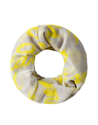Vincenzo Boretti Damen Schal Hals-Tuch modern elegant edel leicht fein trendy - Loopschal mit Graffiti-Sternen Muster dünn groß gelb