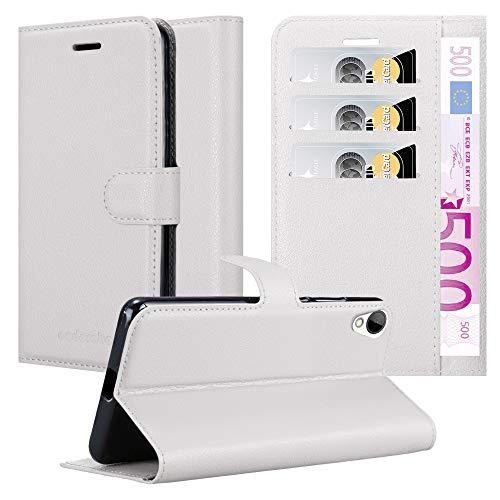 Cadorabo Hülle für HTC Desire 10 Lifestyle/Desire 825 in ARKTIS WEIß - Handyhülle mit Magnetverschluss, Standfunktion & Kartenfach - Hülle Cover Schutzhülle Etui Tasche Book Klapp Style