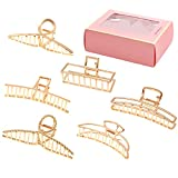 LUKACY 6 Pack Large Metal Hair Claw Clips - 4 Inch Nonslip Big Nonslip gold hair clamps ,Perfect Jaw hair clamps for Women and Thinner, Thick hair styling,Strong Hold Hair,Fashion Hair Accessories