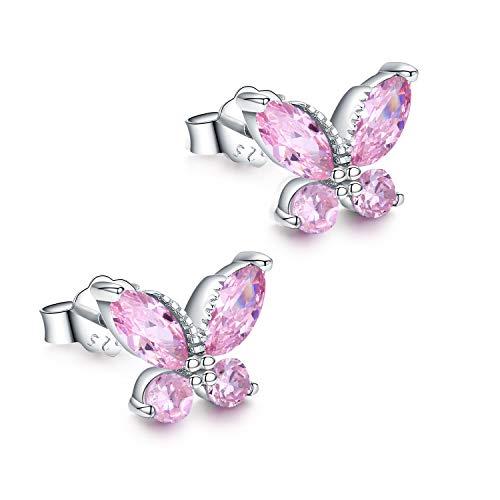 Cute Girls Earrings Butterfly Stud Earrings,925 Sterling Silver Hypoallergenic Kids Earrings Mothers Day Gifts for Women