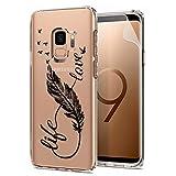 Laixin TPU Hülle für Samsung Galaxy S8+/S8 Plus Handyhülle Transparent Silikon Case Cover Durchsichtig Antikratz Schutzhülle + Free [Displayschutzfolie], Feder und Love