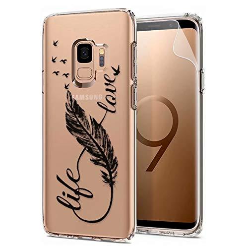 Laixin Coque pour Samsung Galaxy S9 Étui Transparent Silicone Anti Choc Mince Case Housse de Protection + Free [Protecteur d écran], Plume et Amour
