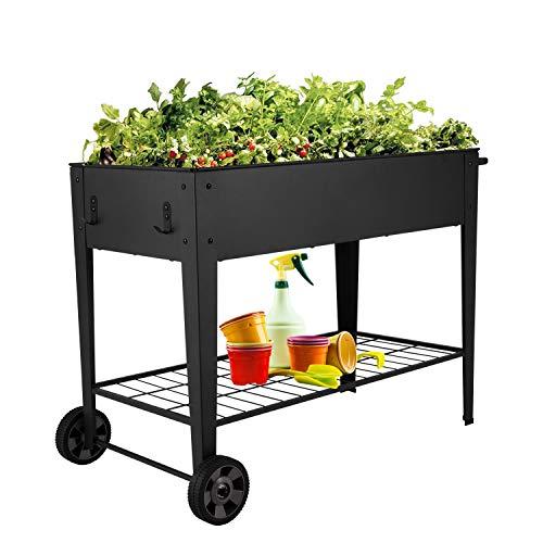 Kinsuite 12 Grids Pocket Herb Garden Bed Raised Planter Flower Box Elevated Metal with 2 Wheels&Storage Shelf for Vegetable Tomato Herbs Gardening, Removable Shelves