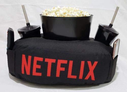 Kit Almofada C/Porta Pipoca Balde +2 Copos Netflix C/Bolso