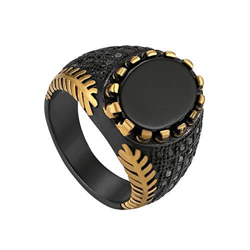 JewelryWe - Anillo Grande para Hombre con ágata Negra de Acero Inoxidable, Color Plateado y Negro Negro