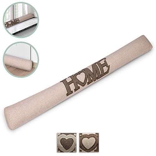 Beautissu Draught Excluder Tuuli HE 90 x 8 cm Draft Stopper Cushion for Doors/Windows Draft Guard Insulator Natural