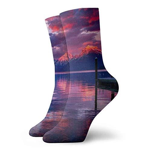 QUEMIN Lake Mcdonald Glacier National Park Socks Classic Leisure Sport Short Socks 11.8inch Men Wome compression Non-slip crew socks 30cm/18in