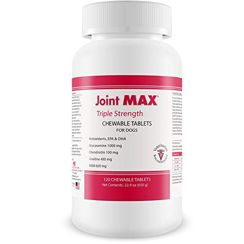PHS Joint MAX Triple Strength (TS) Chewable Tablets for Dogs - Glucosamine, Chondroitin, MSM - Vitamins, and Antioxidants - Hip and Joint Pain Relief and Support Supplement - Made in USA - 120 Tablets
