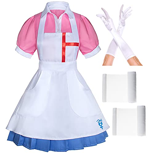 Super Danganronpa 2 Mikan Tsumiki Nurse Maid Cosplay Costume Outfit with Gloves Set(S) Pink/Blue