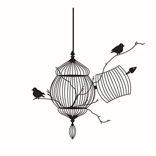 Jcnfa Jaula De Aves Y Pegatinas De Pared De Aves, Jaula De Pájaros Pájaro, Ramas Frescas, Adecuado Para La Decoración De La Pared De La Habitación Para Niños, Zoológico(Size:19.68*22.44in,Color:negro)